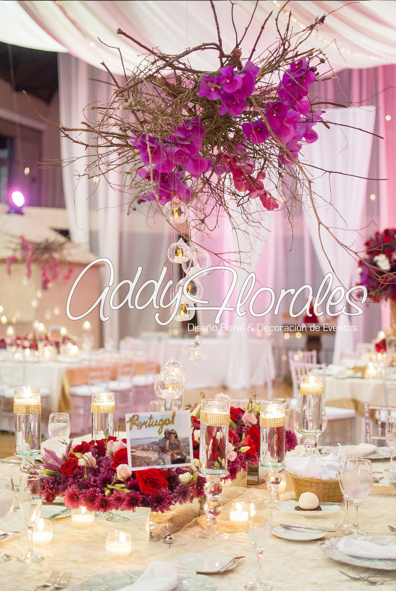 hangingcenterpiece #glam #purple #mirrors #orchids #wedding ...
