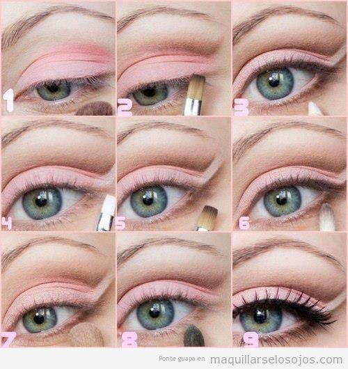 maquillaje de ojo en tonos rosa palo paso a paso