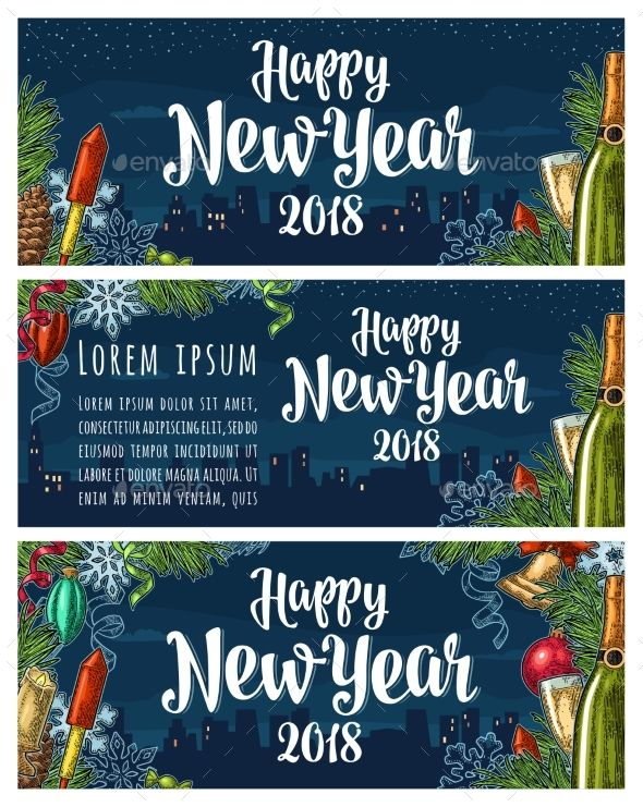Happy New Year 2018 calligraphy lettering and champagne glass, bottle, bell, serpentine, rocket, snowflake, pine cone, candle, toy