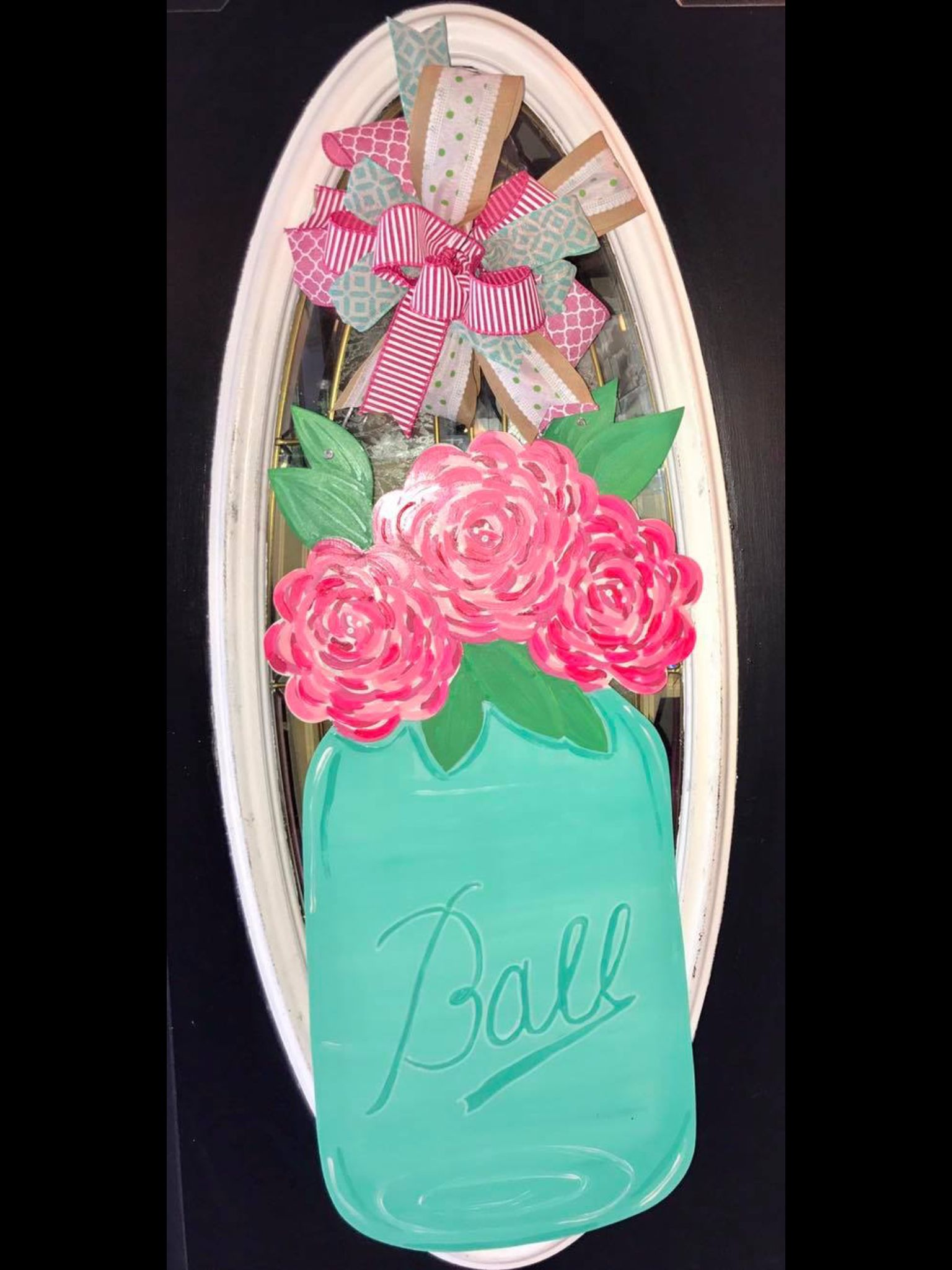 Mason Jar with flowers wood hand painted door hanger. Made by Felicia. Fancys Door & Mason Jar with flowers wood hand painted door hanger. Made by ...