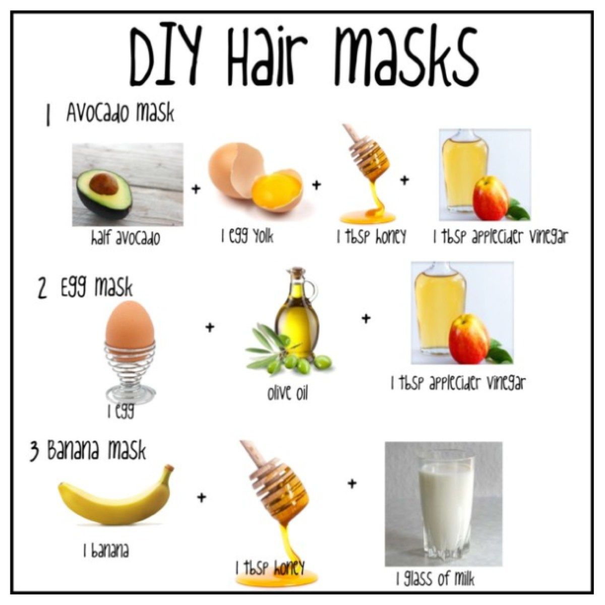 DIY Hair Masks Hair mask for damaged hair, Hair mask for