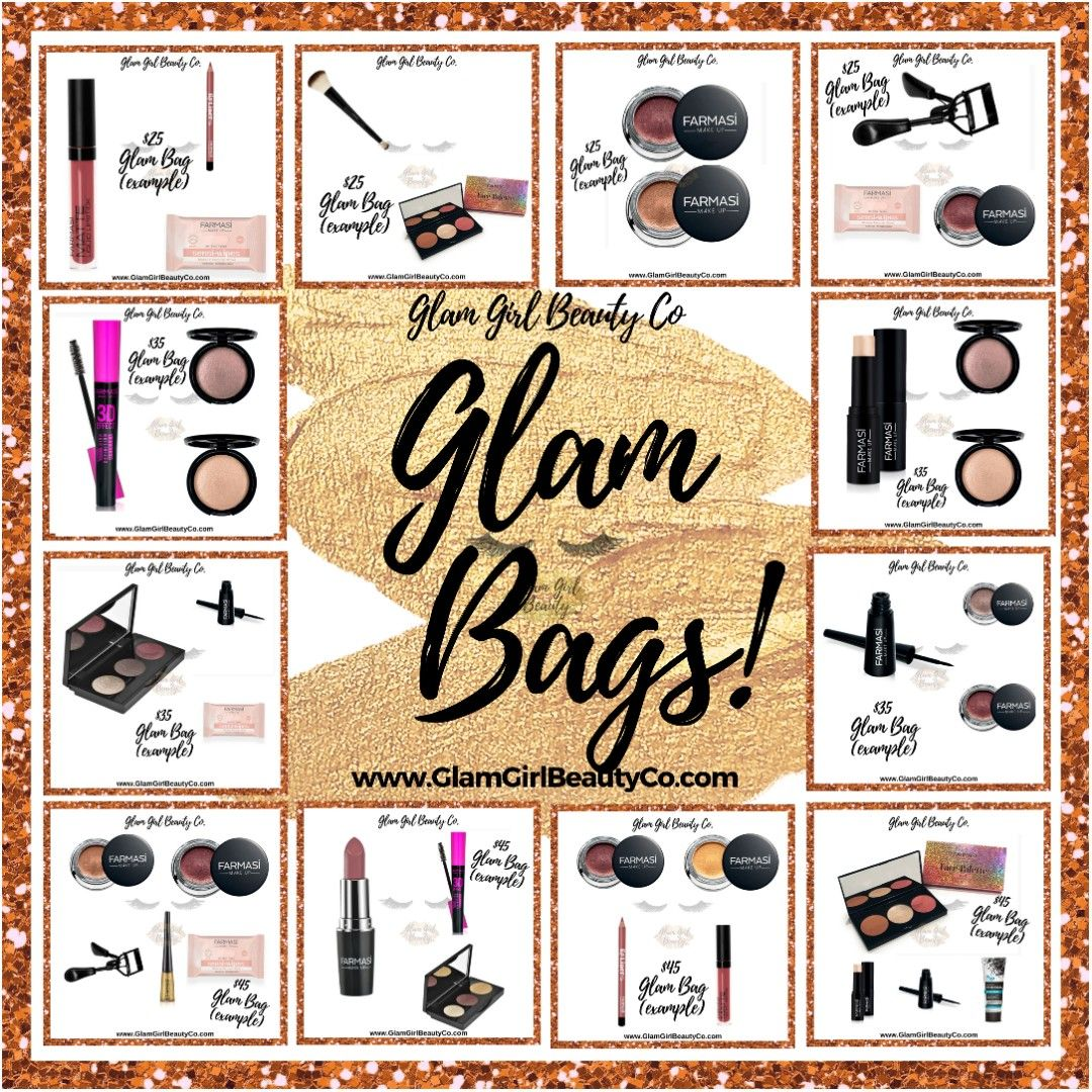 Monthly Glam Bags filled with full size Farmasi products