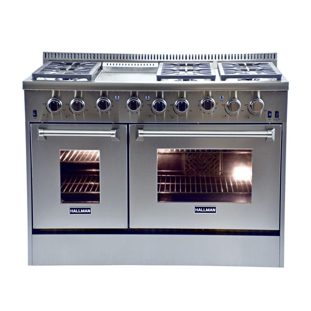 Hallman 48 in 67 cu ft Professional Convection Gas Range Double