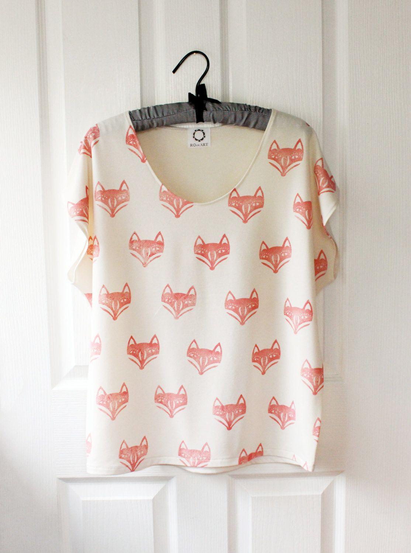 Fox volto Batwing Top  osso maglia di RoEnArt su Etsy, $35,00