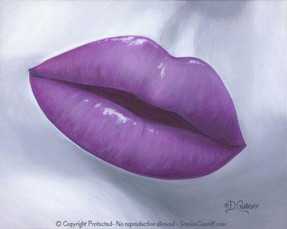 Lip Wall Art Pop Art Print Plum Purple Gray Artwork Contemporary Modern Master Bedroom Decor Kiss Art Master Bathroom Home Decor