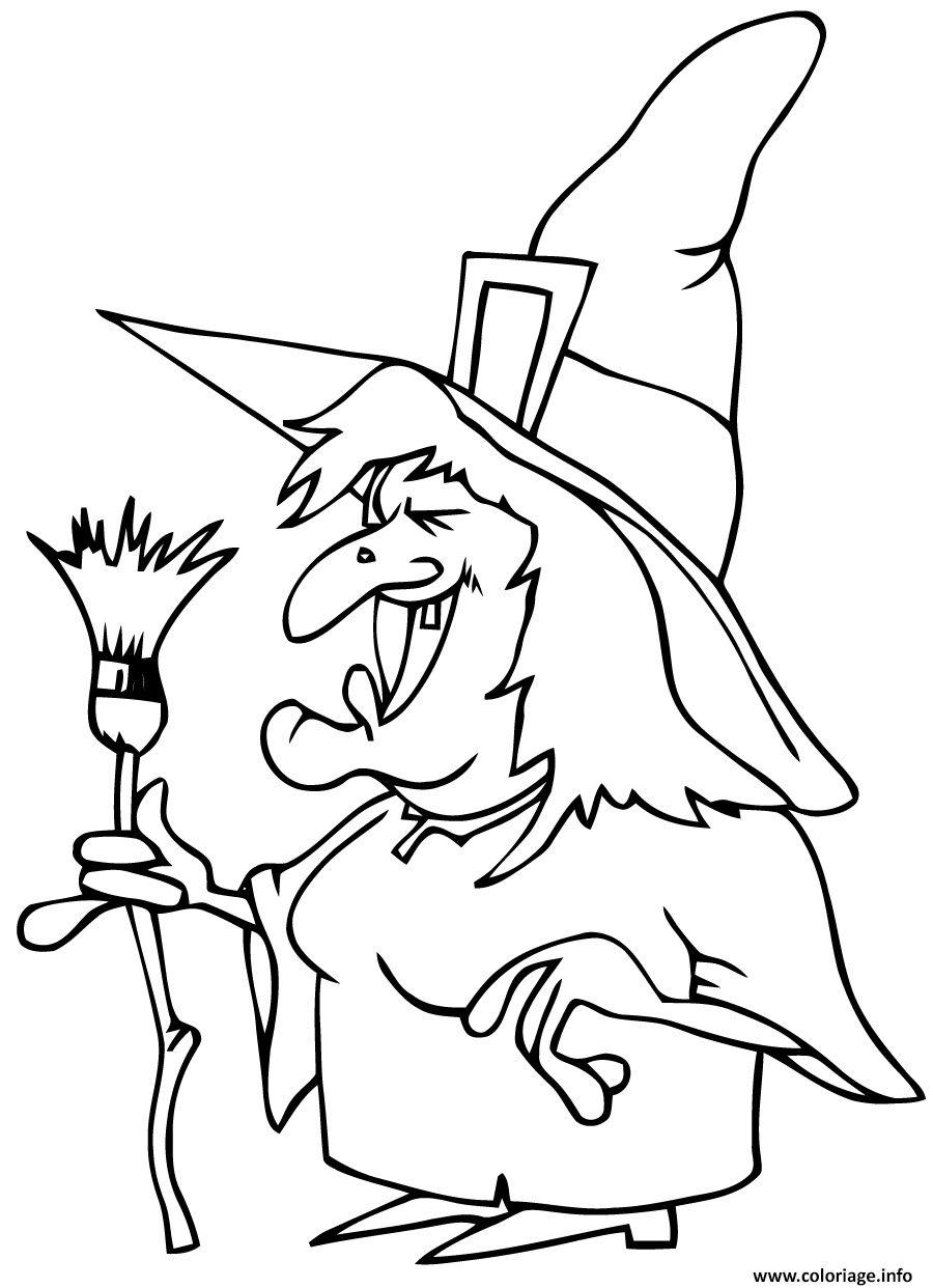 affreuse sorciere qui fait peur halloween coloriage dessin
