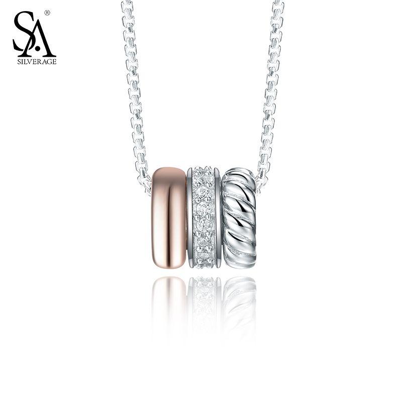 """SILVERAGE 925 Collane In Argento e Pendenti Cerchio Fine Jewelry Donne Rose Gold Cubic Zirconia 2016 Nuovo 11.11 Regalo, 18"""""""