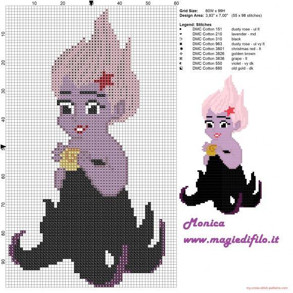 Baby Ursula patrón punto de cruz 60x99 9 colores | pequena sereia ...