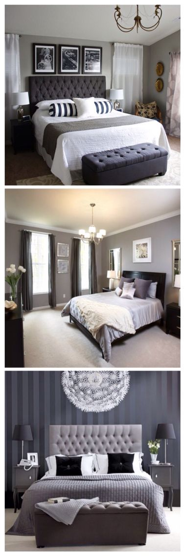 I love gray bedrooms!
