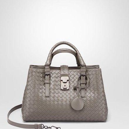 5f16e2d57575 Bottega Veneta Small Roma In Intrecciato Calf Steel Cross Body Bag on Sale