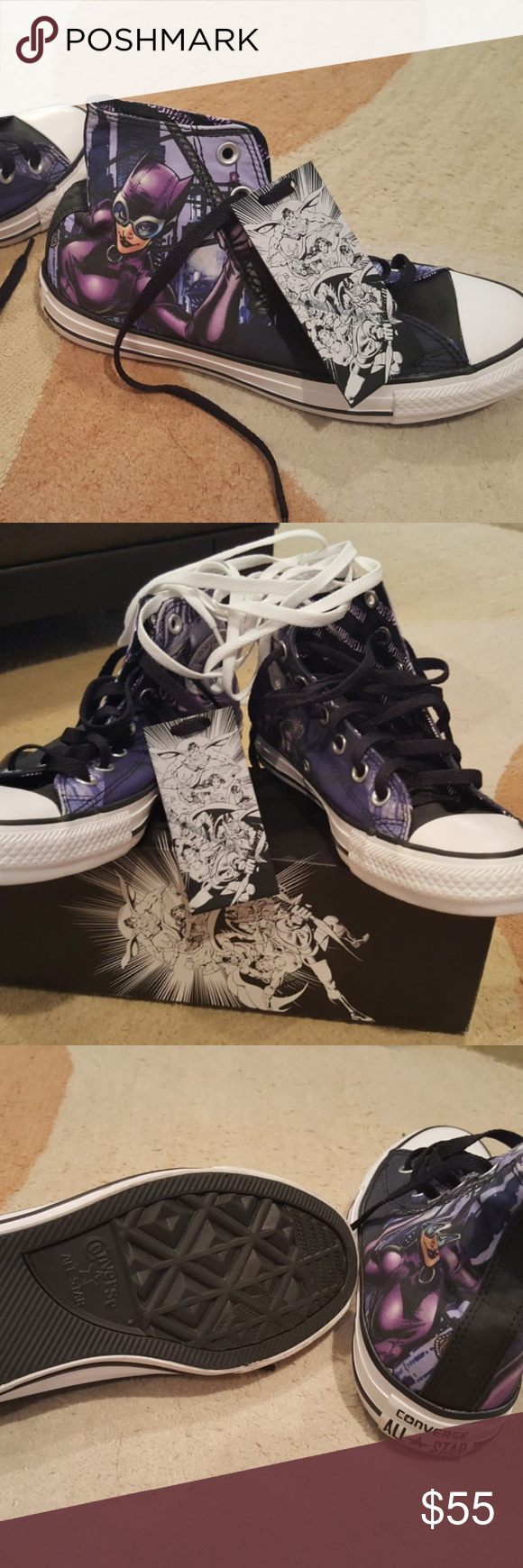 125bb6e86928 Converse Hi All Star DC Comics CatWoman Converse Chuck Taylor Hi All Star  DC Comics CatWoman 150865C Purple Unisex Shoes-Never Worn-Still in the  Box-Comes ...