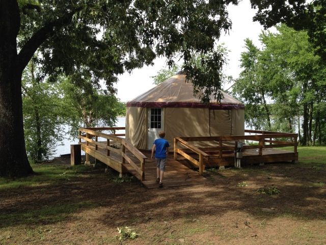 Rent a yurt for unique family getaway! This one is Petit Jean State Park in Arkansas #familytravel