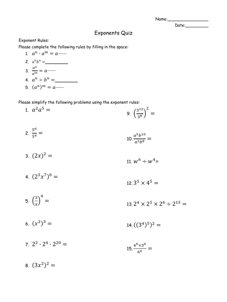 Exponent Rules Quiz Exponent Worksheets Exponent Rules Exponent Rules Activity