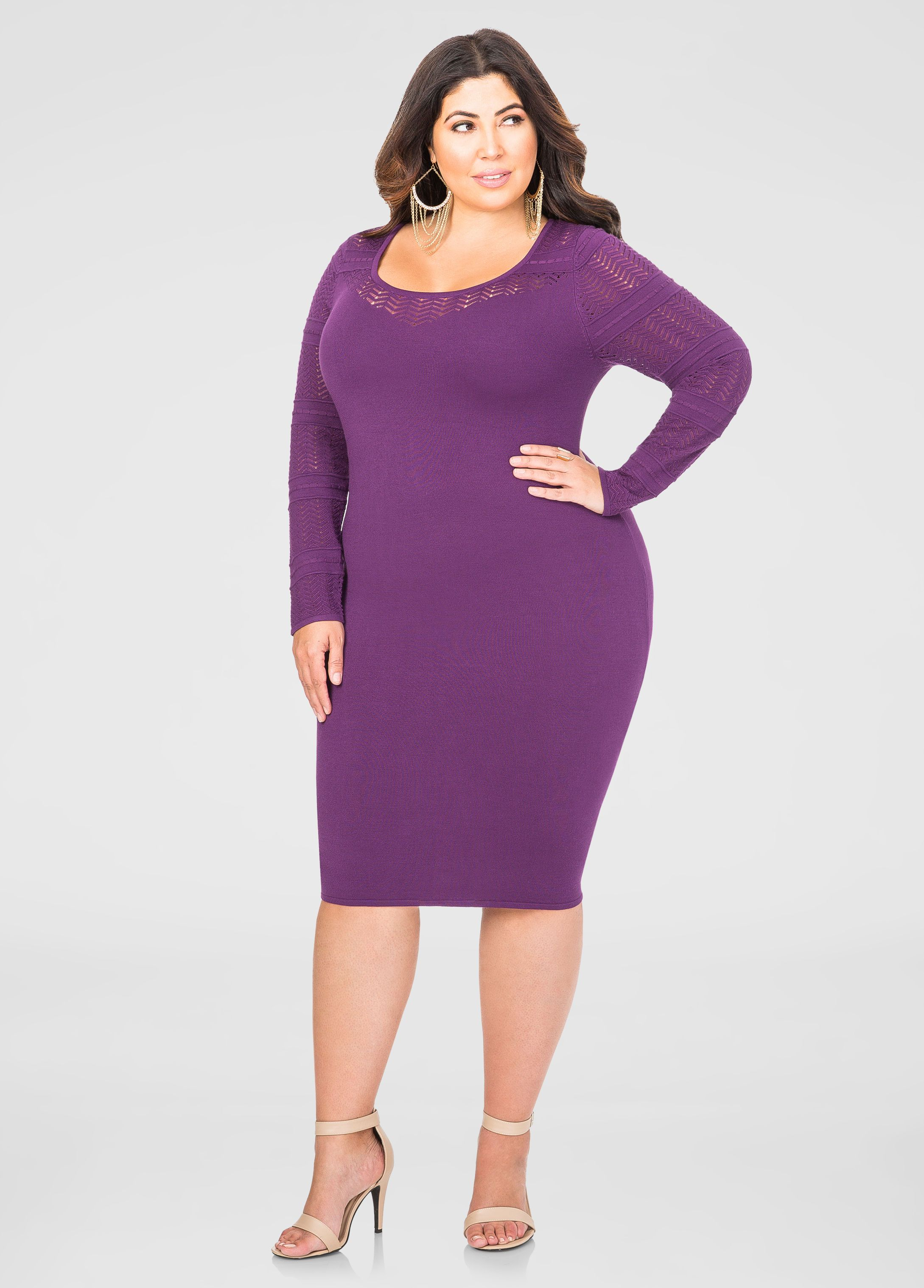 Pointelle Yoke Sweater Dress