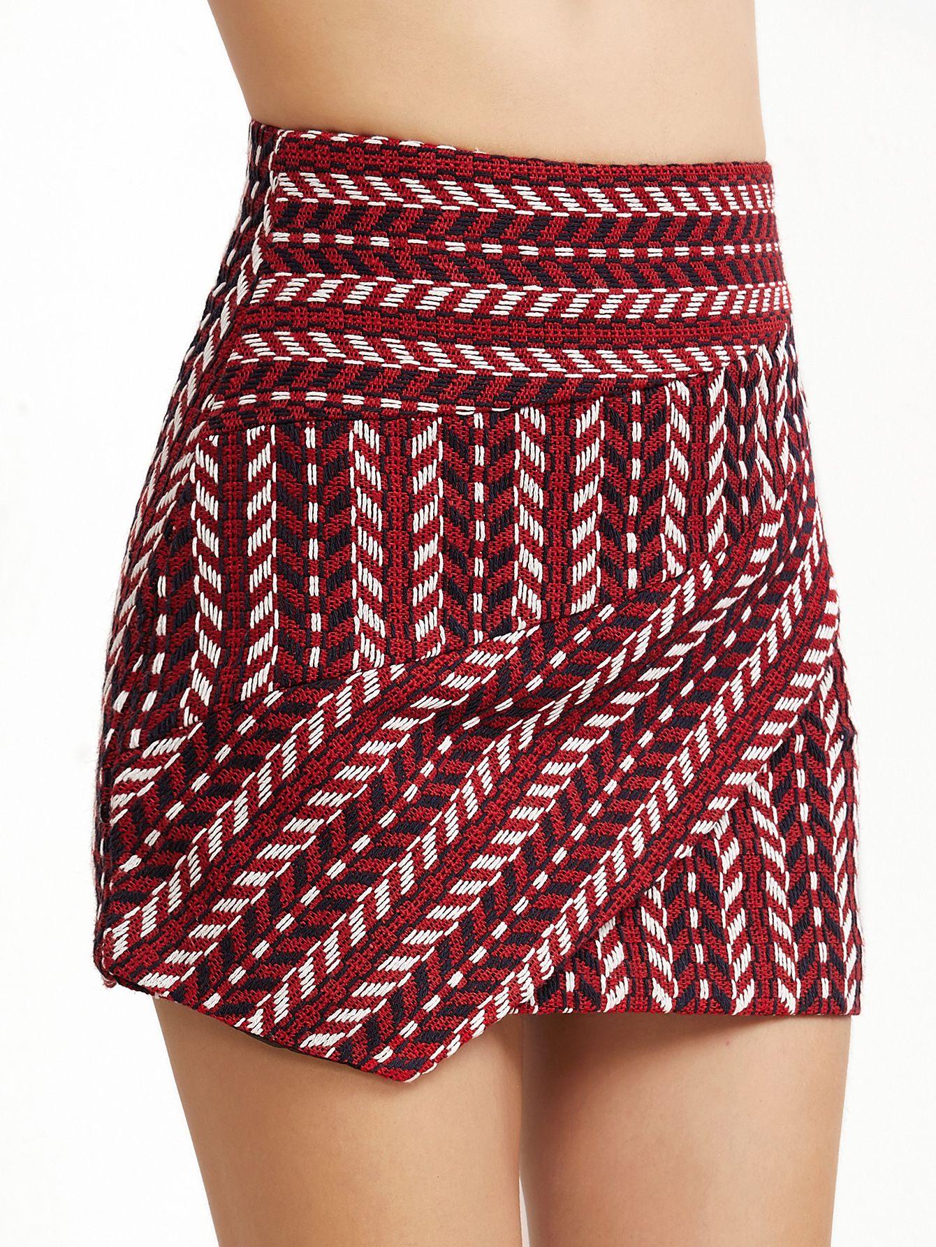 Shop Burgundy Crochet Zipper Back Asymmetric Skirt online