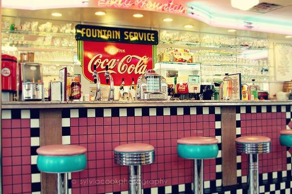 Retro home decor Retro diner wall art soda | Etsy