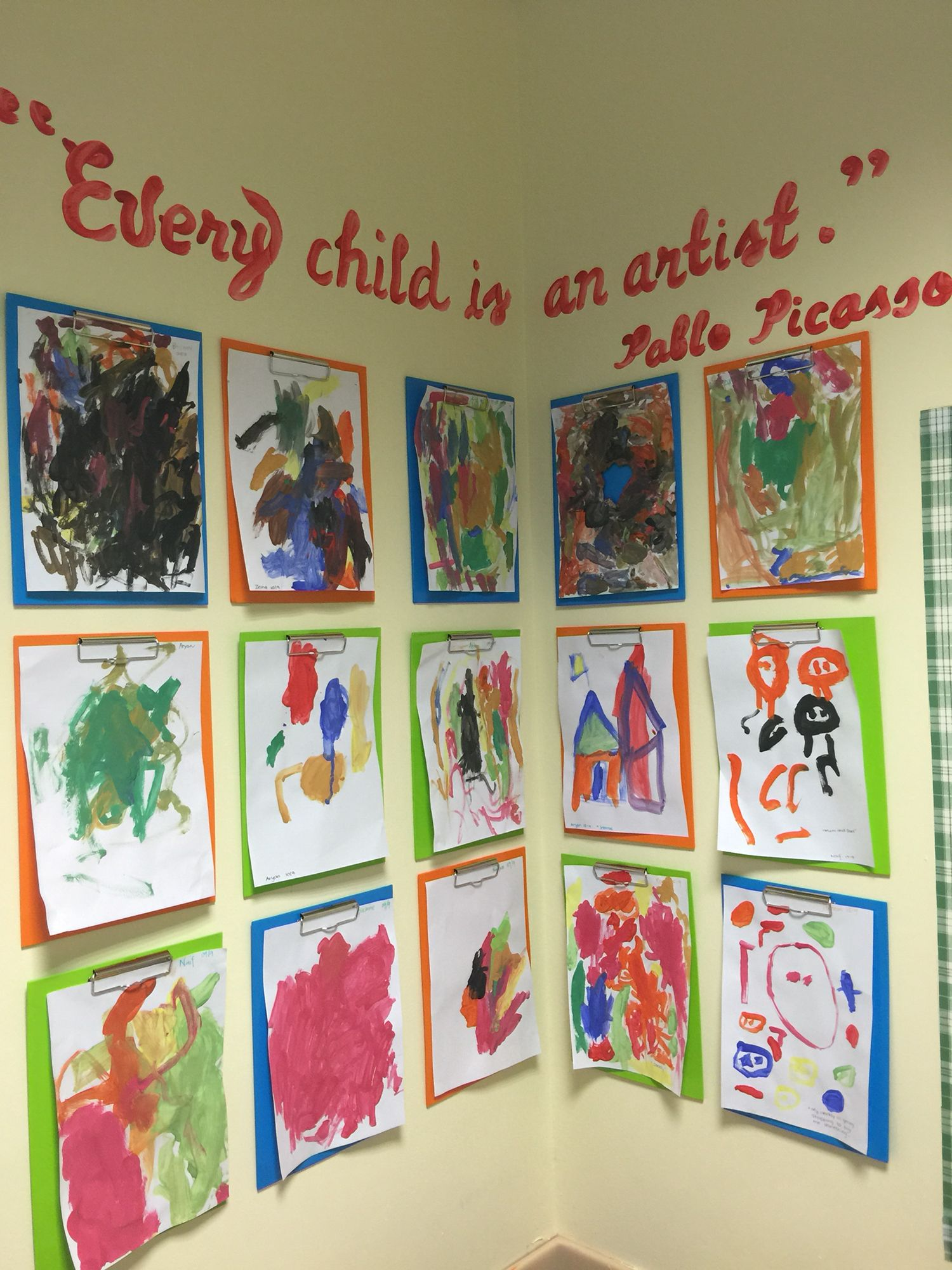 Every child is an artist art corner display