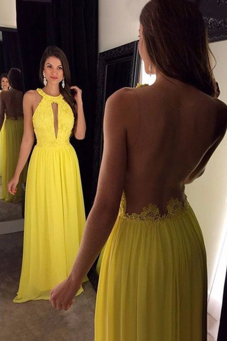 cd044fd52 2019 Scoop Chiffon Prom Dresses A Line With Applique And Beads US  169.99  KKPPHDHB3K - KikiProm.com  yellowpromdresses  chiffonpromdresses   longpromdresse ...