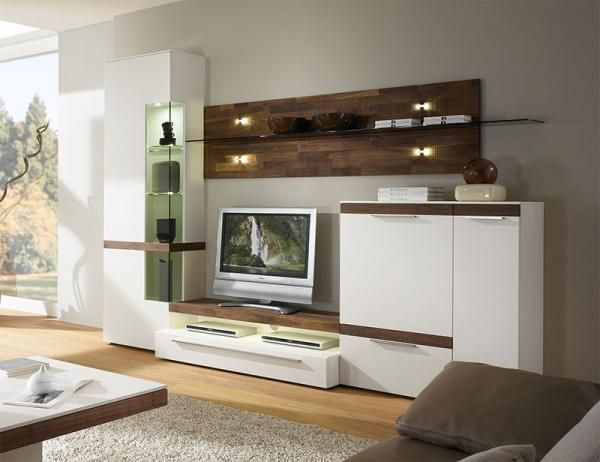 Casale Modern TV And Wall Storage System With Real Wood Finishes U0026 Optional  LED Lights