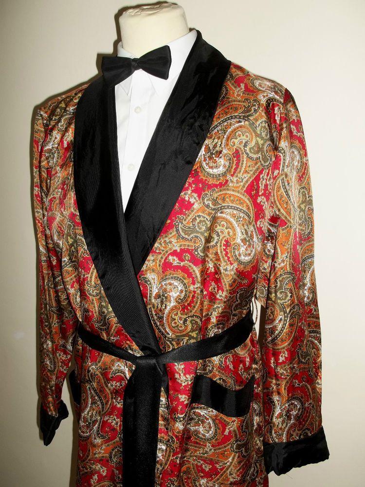Vintage Mens St Michael 1950s/60s Tricel Smoking Jacket Dressing ...