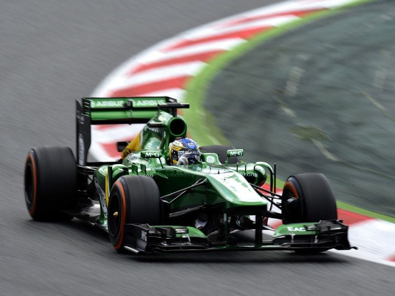 Charles Pic in action for Caterham in Qualifying for the Spanish GP