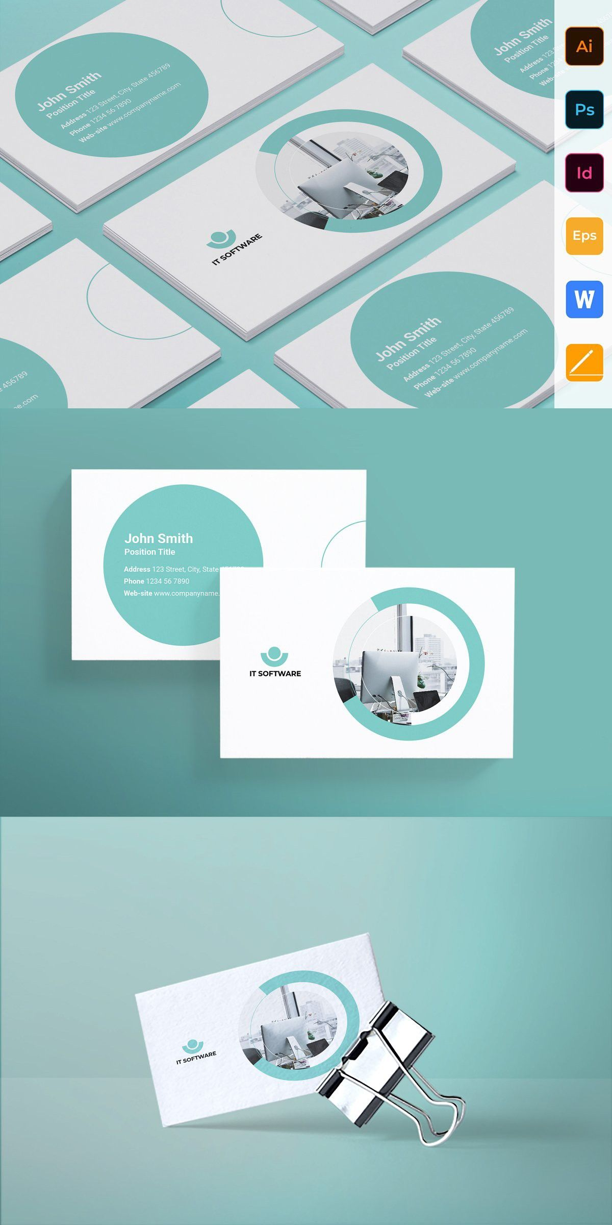 It Software Business Card High Quality Business Cards Unique Business Cards Indesign Templates