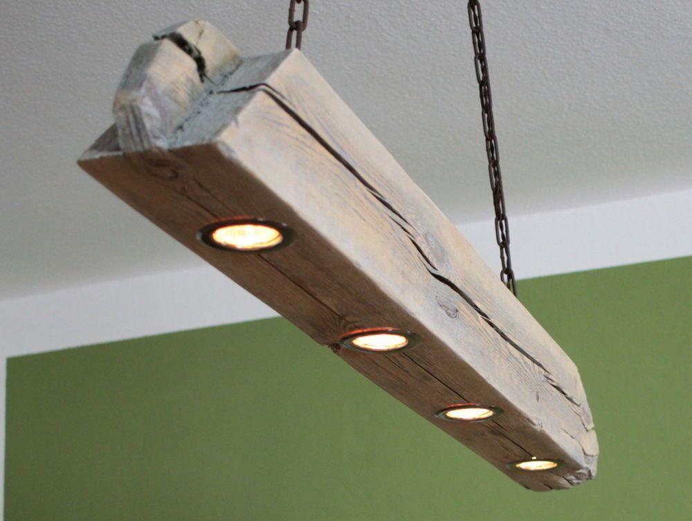 Hangelampe Deckenlampe Lampe Rustikal Holz Holzbalken Led Vintage Shabby Rope Pendant Light Wooden Beams Lamp