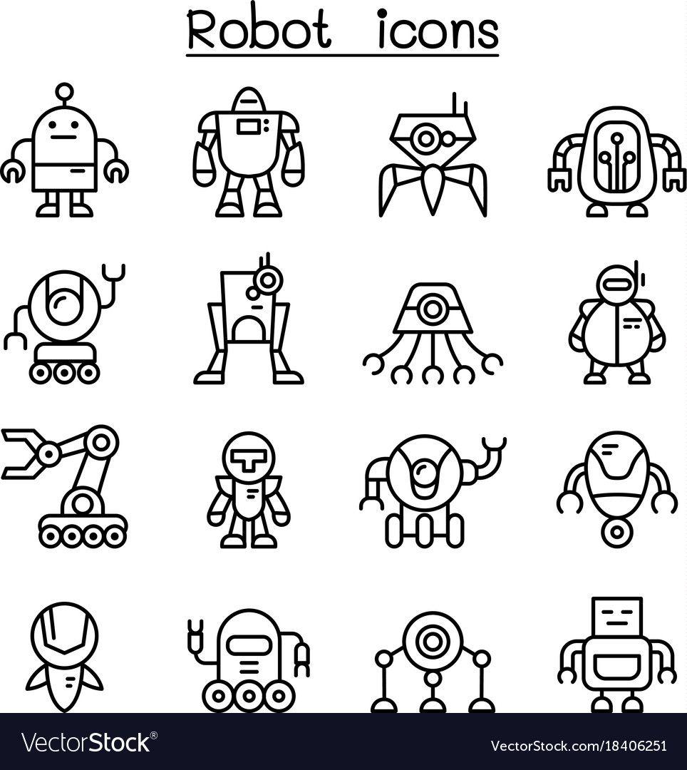 Robot Icon Set In Thin Line Style Royalty Free Vector Image Sponsored Thin Line Set Robot Ad Robot Icon Web Design Icon Icon Set