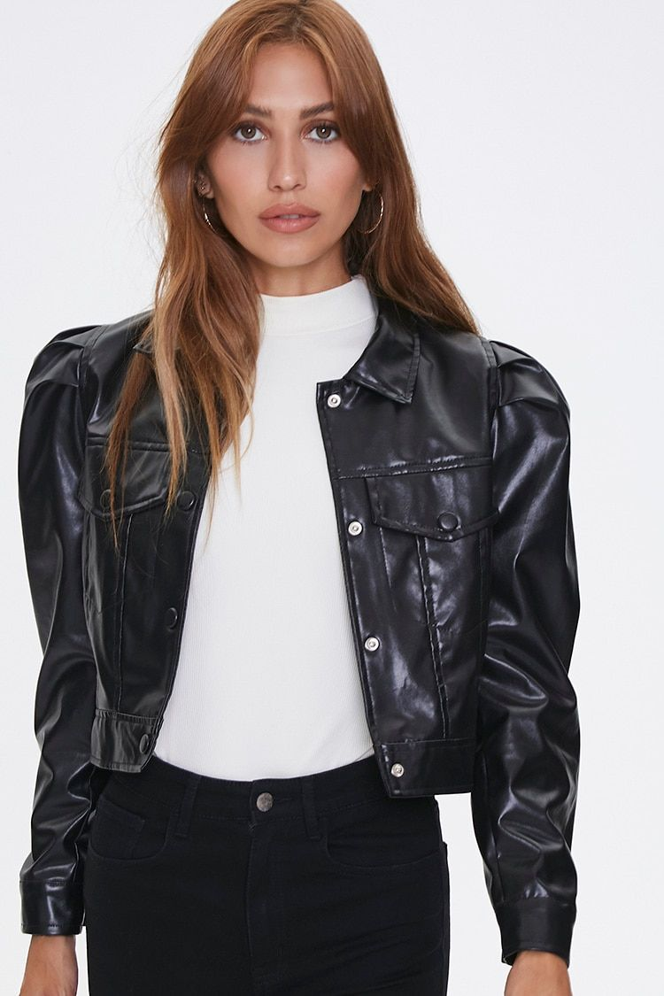 Shirred Faux Leather Jacket Forever 21 In 2020 Leather Jacket Leather Jacket Details Jackets [ 1125 x 750 Pixel ]