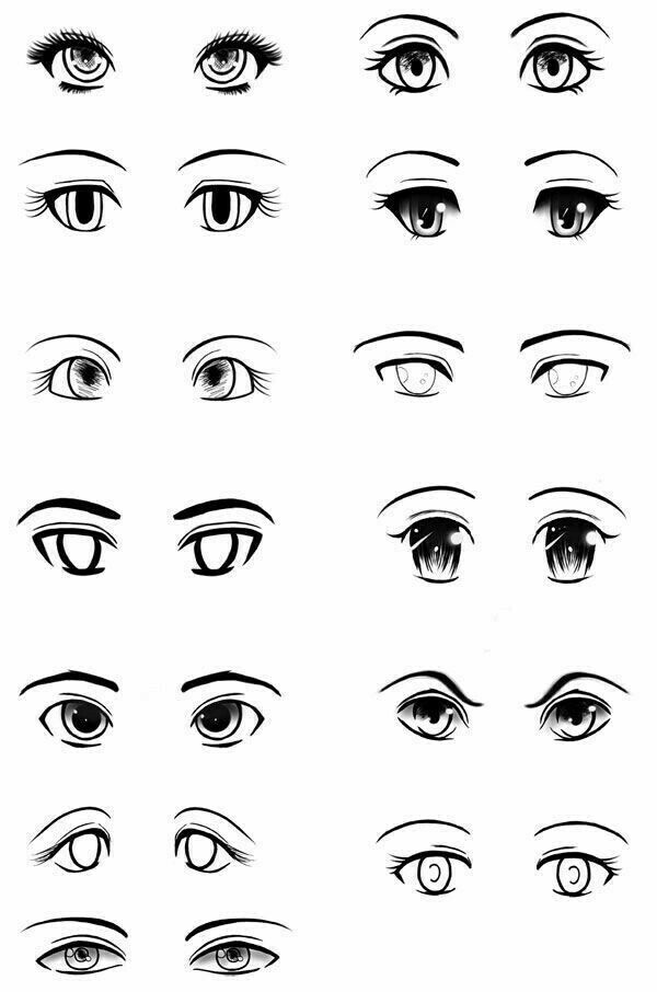 Drawing Eyes Is A Fun Exercise For Any Artist Chart Showing How To Draw Different Styles Of Eyes How To Draw Drawing Eye Anime Eyes Eye Drawing Manga Drawing