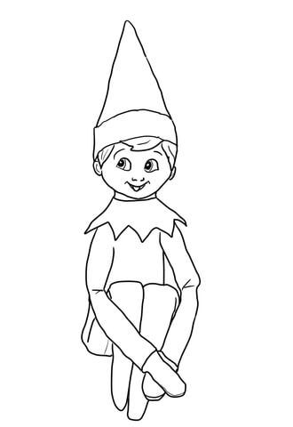 Christmas Elf On Shelf Coloring Page