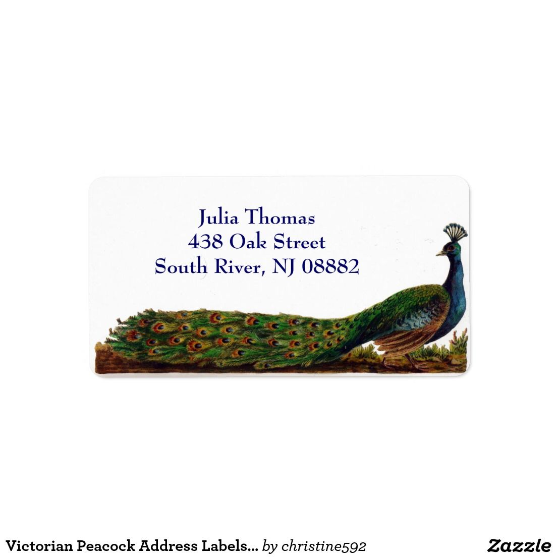Victorian Peacock Address Labels Template  Address Label Template