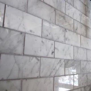 White Carrera Marble With Gray Grout White Marble Mosaic Marble Tile Kitchen White Marble Tiles