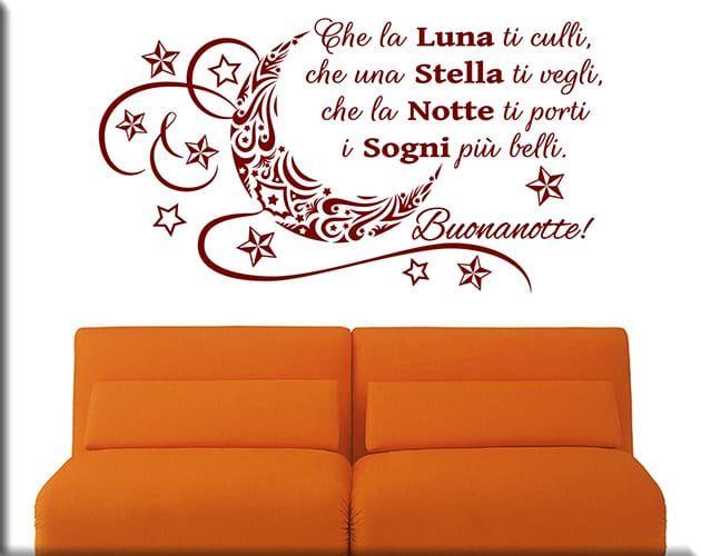 Decorazioni Da Muro Adesive.Adesivi Murali Frase Buonanotte Arredo Letto Ws1335