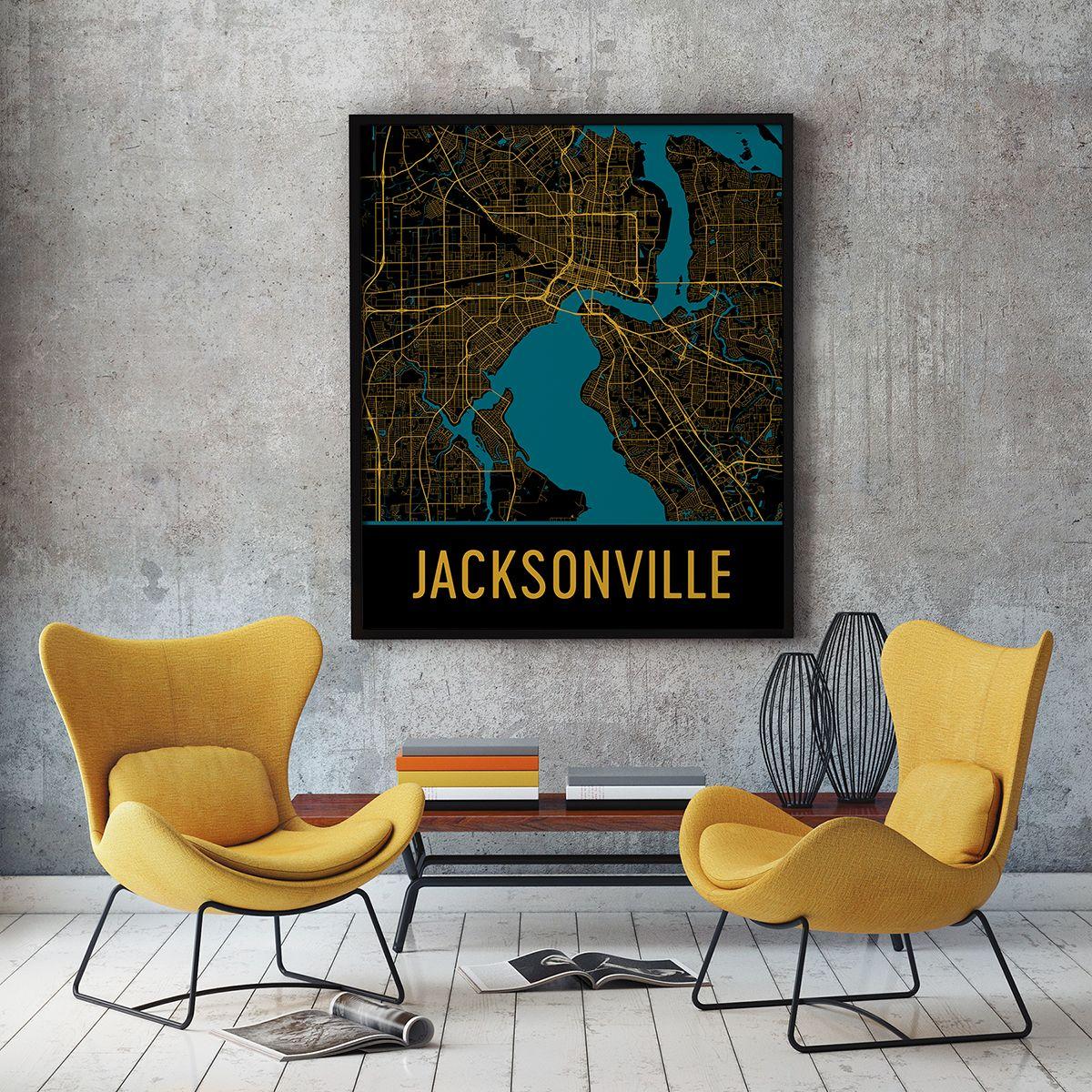 Jacksonville Fl Map Art Print Poster Wall Art