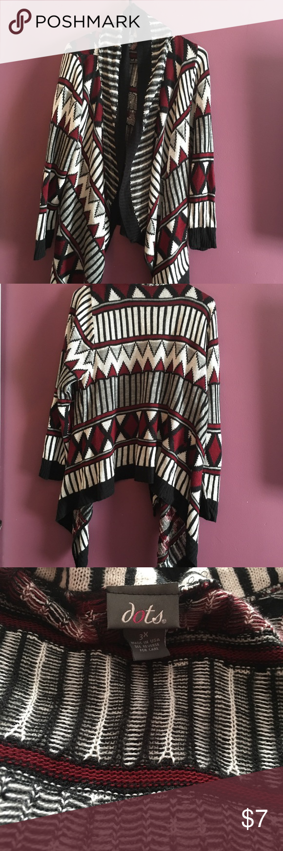Women's Aztec Print Sweater Aztec Print Sweater coming from smoke free home.  Worn once, just have too many prints!!!  Colors are black white maroon and gray. Dots Sweaters Cardigans
