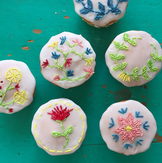 Embroidery style cupcakes found on Selina Lake instagram