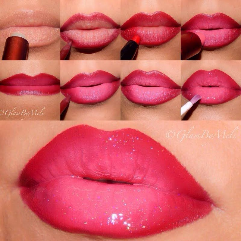 Ombre Glossy Valentine Lips Lip Makeup Tutorial Ombre Lips Makeup