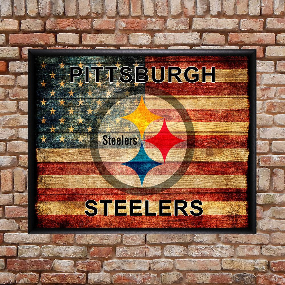 5597e7bb6 Pittsburgh Steelers Poster - Football Decor - US Flag - Man Cave Boys Room  Decor Gifts