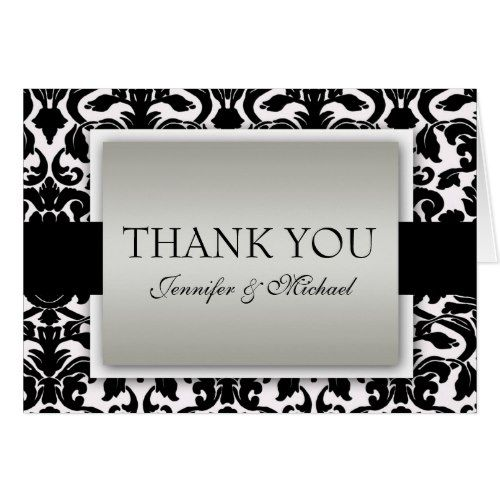 Monogram Thank You Cards Silver  Black Damask Black and White