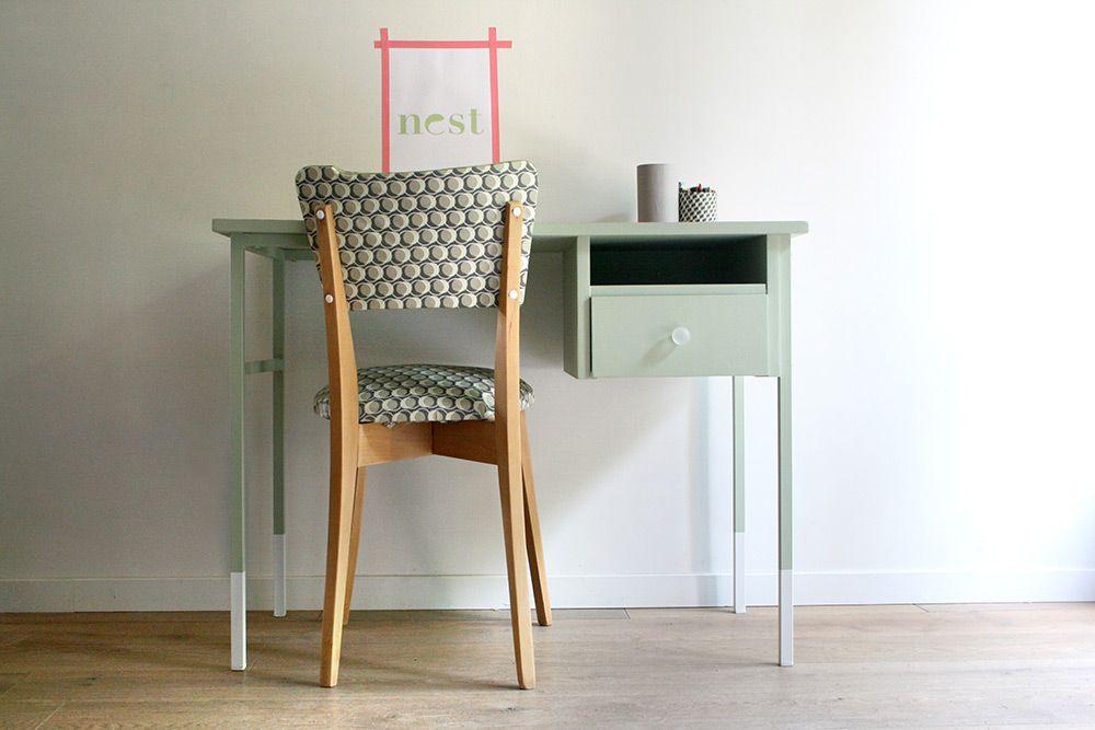 Bureau et chaise vintage rénovés et relookés par les jolis meubles