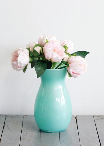 Jordan Glass Floral Vase In Pearlized Aquabr8 Tall Wedding