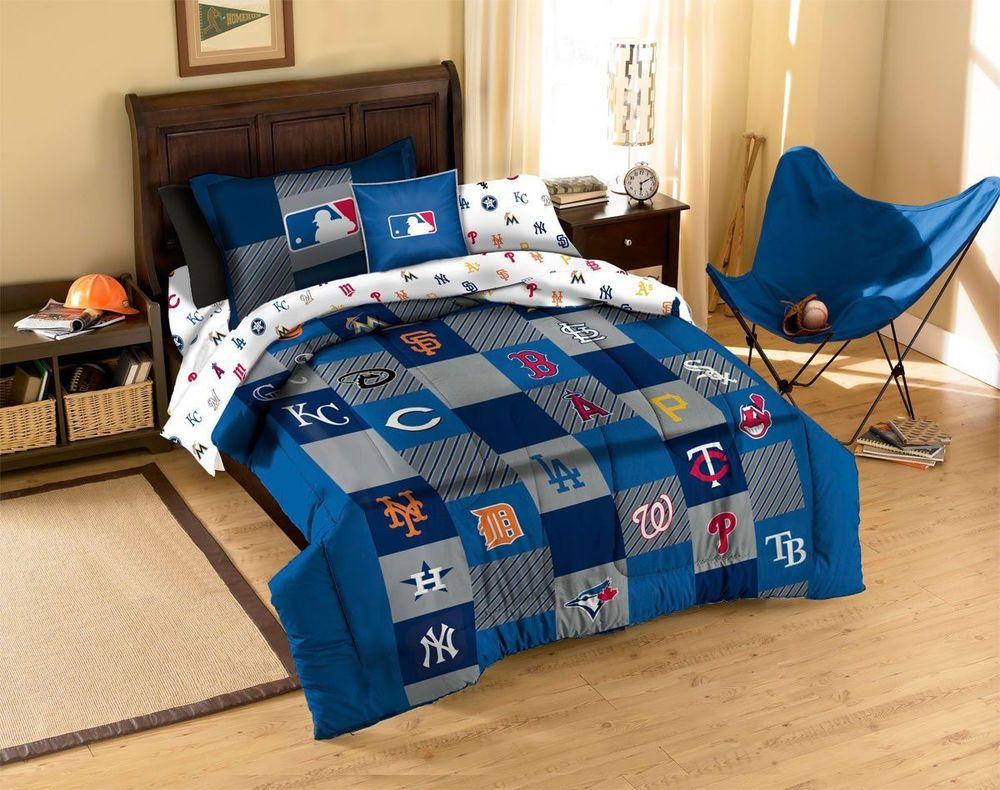 MLB Teams Twin Bed Quilt Set Cotton Comforter Sham Baseball Fan Sports Bedding