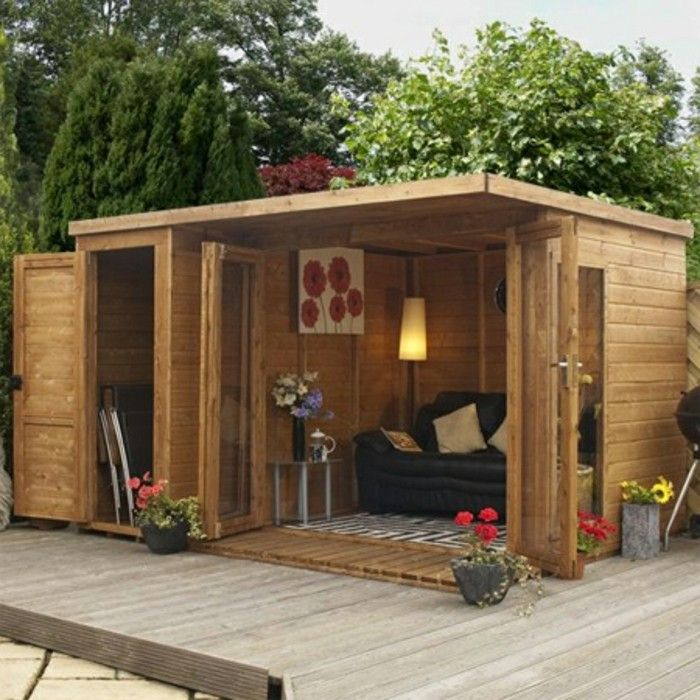 More Than 40 Suggestions On How To Build A Garden House Yourself Archzine Net Garden In 2020 Contemporary Garden Rooms Garden Shed Interiors Wooden Summer House