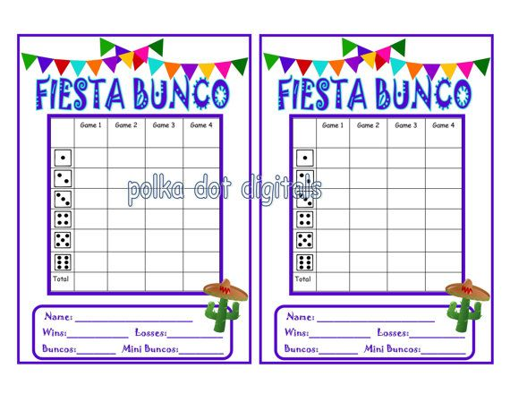 Buy 2 Get 1 Free Fiesta Bunco Score Card Sheet By Polkadotdigitals