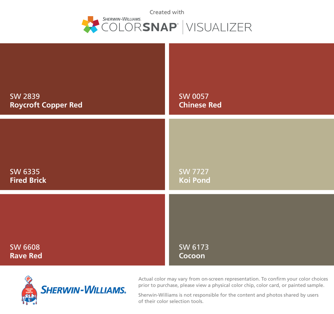 I Found These Colors With ColorSnapR Visualizer For IPhone By Sherwin Williams Roycroft Copper Red SW 2839 Fired Brick 6335 Rave 6608