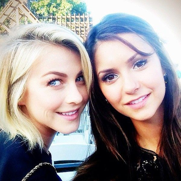 Julianne Hough and Nina Dobrev squeezed in some BFF time together. |... ❤ liked on Polyvore