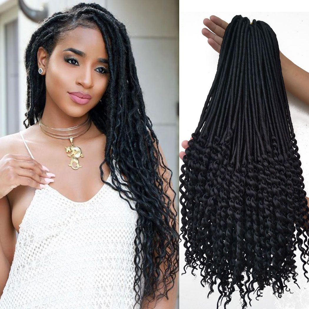 20 Inch Black Curly Faux Locs Soft Hair 6 Packs Synthetic
