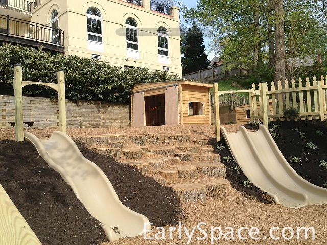 Hillside Slides And Stump Scramble Playground Landscaping Garden Stream Outdoor Classroom