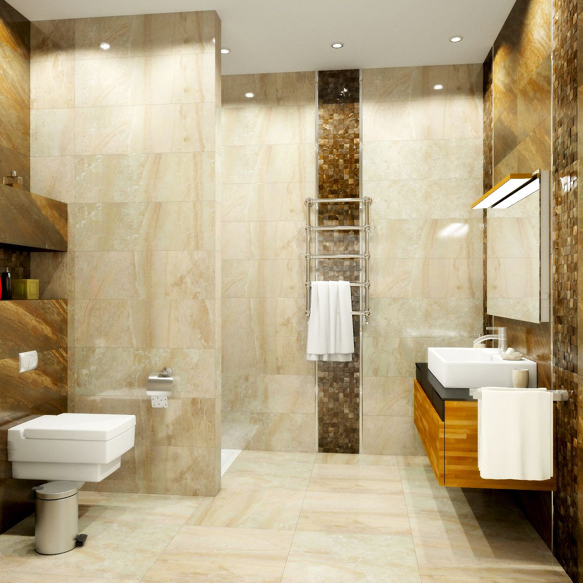 Gorgeous luxury bathroom with an open shower, wall-mounted toilet ...